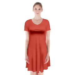 Dahlia Red in an English Country Garden Short Sleeve V-neck Flare Dress
