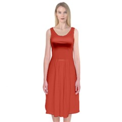 Dahlia Red in an English Country Garden Midi Sleeveless Dress