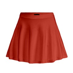 Dahlia Red in an English Country Garden Mini Flare Skirt
