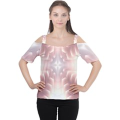 Neonite Abstract Pattern Neon Glow Background Women s Cutout Shoulder Tee