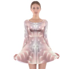 Neonite Abstract Pattern Neon Glow Background Long Sleeve Skater Dress