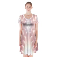 Neonite Abstract Pattern Neon Glow Background Short Sleeve V Neck Flare Dress