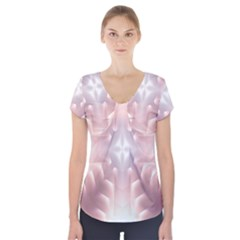 Neonite Abstract Pattern Neon Glow Background Short Sleeve Front Detail Top