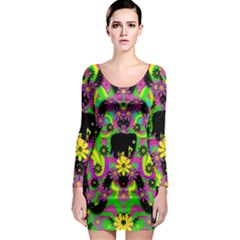 Jungle life and apples Long Sleeve Bodycon Dress