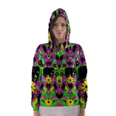 Jungle life and apples Hooded Wind Breaker (Women)