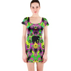 Jungle life and apples Short Sleeve Bodycon Dress