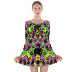 Jungle life and apples Long Sleeve Skater Dress