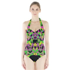 Jungle life and apples Halter Swimsuit