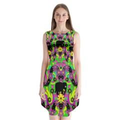Jungle life and apples Sleeveless Chiffon Dress