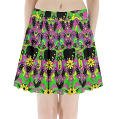 Jungle life and apples Pleated Mini Skirt