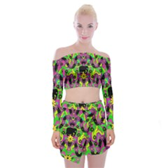 Jungle life and apples Off Shoulder Top with Skirt Set