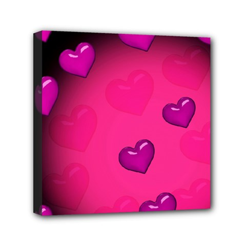 Pink Hearth Background Wallpaper Texture Mini Canvas 6  x 6
