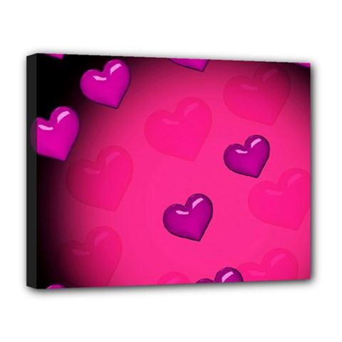 Pink Hearth Background Wallpaper Texture Canvas 14  x 11