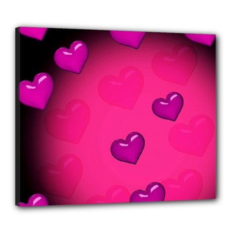 Pink Hearth Background Wallpaper Texture Canvas 24  x 20