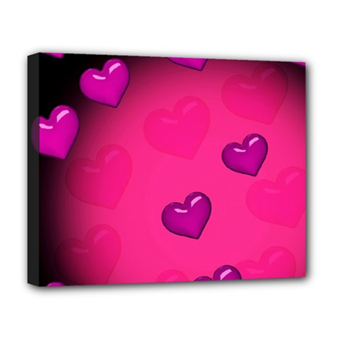 Pink Hearth Background Wallpaper Texture Deluxe Canvas 20  x 16