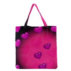 Pink Hearth Background Wallpaper Texture Grocery Tote Bag