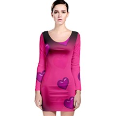 Pink Hearth Background Wallpaper Texture Long Sleeve Bodycon Dress