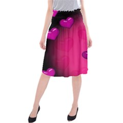 Pink Hearth Background Wallpaper Texture Midi Beach Skirt