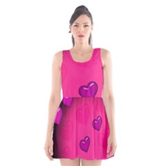 Pink Hearth Background Wallpaper Texture Scoop Neck Skater Dress