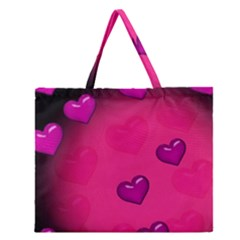 Pink Hearth Background Wallpaper Texture Zipper Large Tote Bag