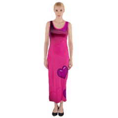 Pink Hearth Background Wallpaper Texture Fitted Maxi Dress
