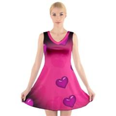 Pink Hearth Background Wallpaper Texture V Neck Sleeveless Skater Dress