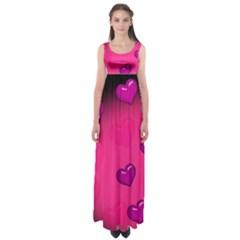 Pink Hearth Background Wallpaper Texture Empire Waist Maxi Dress