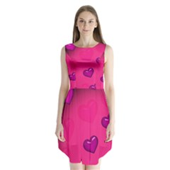 Pink Hearth Background Wallpaper Texture Sleeveless Chiffon Dress
