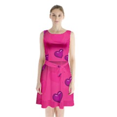 Pink Hearth Background Wallpaper Texture Sleeveless Chiffon Waist Tie Dress