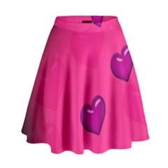 Pink Hearth Background Wallpaper Texture High Waist Skirt