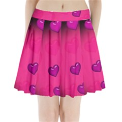 Pink Hearth Background Wallpaper Texture Pleated Mini Skirt