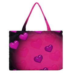 Pink Hearth Background Wallpaper Texture Medium Zipper Tote Bag