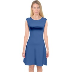 Delphinium Blue In An English Country Garden Capsleeve Midi Dress