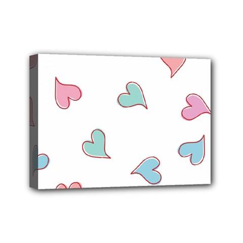 Colorful Random Hearts Mini Canvas 7  x 5