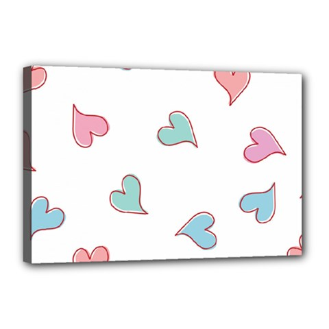 Colorful Random Hearts Canvas 18  x 12
