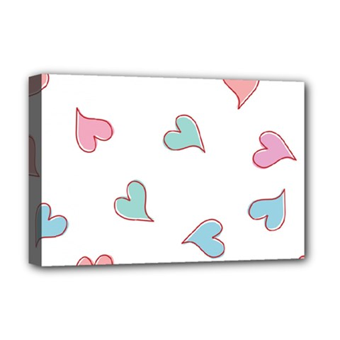 Colorful Random Hearts Deluxe Canvas 18  x 12