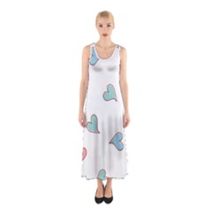 Colorful Random Hearts Sleeveless Maxi Dress