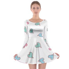 Colorful Random Hearts Long Sleeve Skater Dress