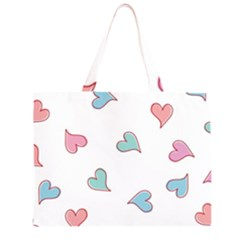 Colorful Random Hearts Large Tote Bag