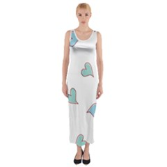 Colorful Random Hearts Fitted Maxi Dress