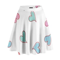 Colorful Random Hearts High Waist Skirt