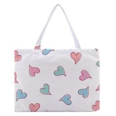 Colorful Random Hearts Medium Zipper Tote Bag