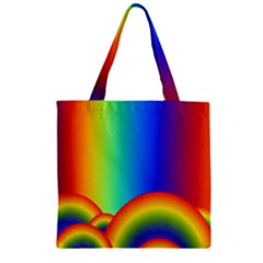 Background Rainbow Zipper Grocery Tote Bag