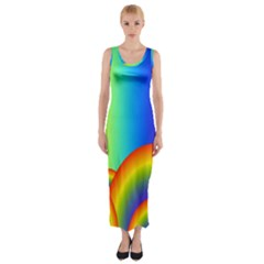 Background Rainbow Fitted Maxi Dress