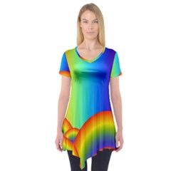 Background Rainbow Short Sleeve Tunic