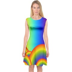 Background Rainbow Capsleeve Midi Dress