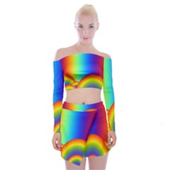 Background Rainbow Off Shoulder Top With Skirt Set