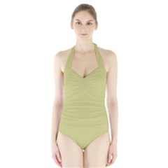 Fern Green in an English Country Garden Halter Swimsuit