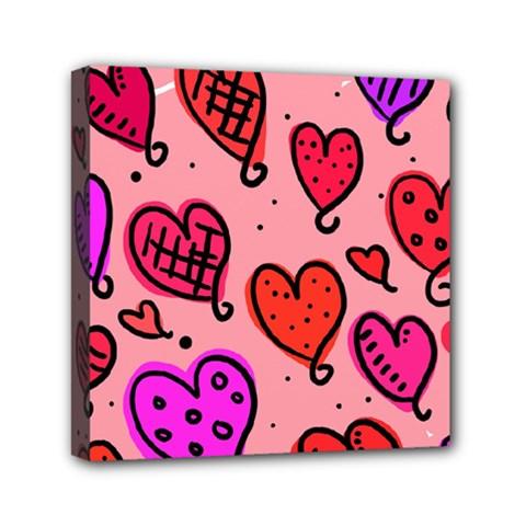 Valentine Wallpaper Whimsical Cartoon Pink Love Heart Wallpaper Design Mini Canvas 6  x 6
