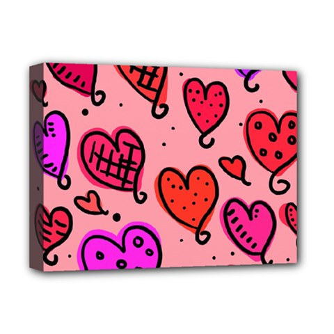 Valentine Wallpaper Whimsical Cartoon Pink Love Heart Wallpaper Design Deluxe Canvas 16  x 12